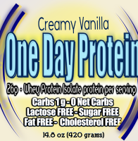 One Day Protein Shake 26 grams protein per serving no artificial sweeterners