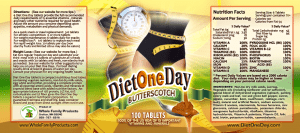 Diet One Day label Butterscotch 9x4 PDF100Tablets