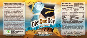 Diet One Day label Chocolate 9x4 PDF100Tablets