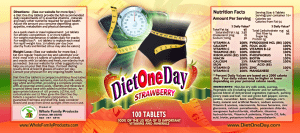 Diet One Day label Strawberry 9x4 PDF100Tablets