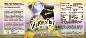 Diet One Day label Vanilla 9x4 PDF100Tablets