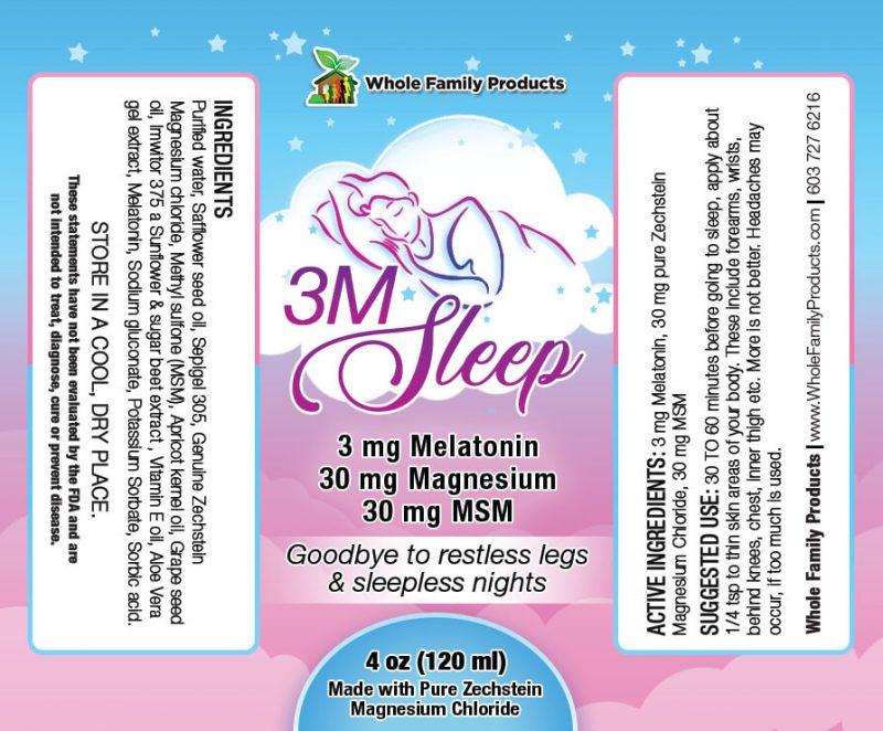 3M Sleep 4oz Pump Label