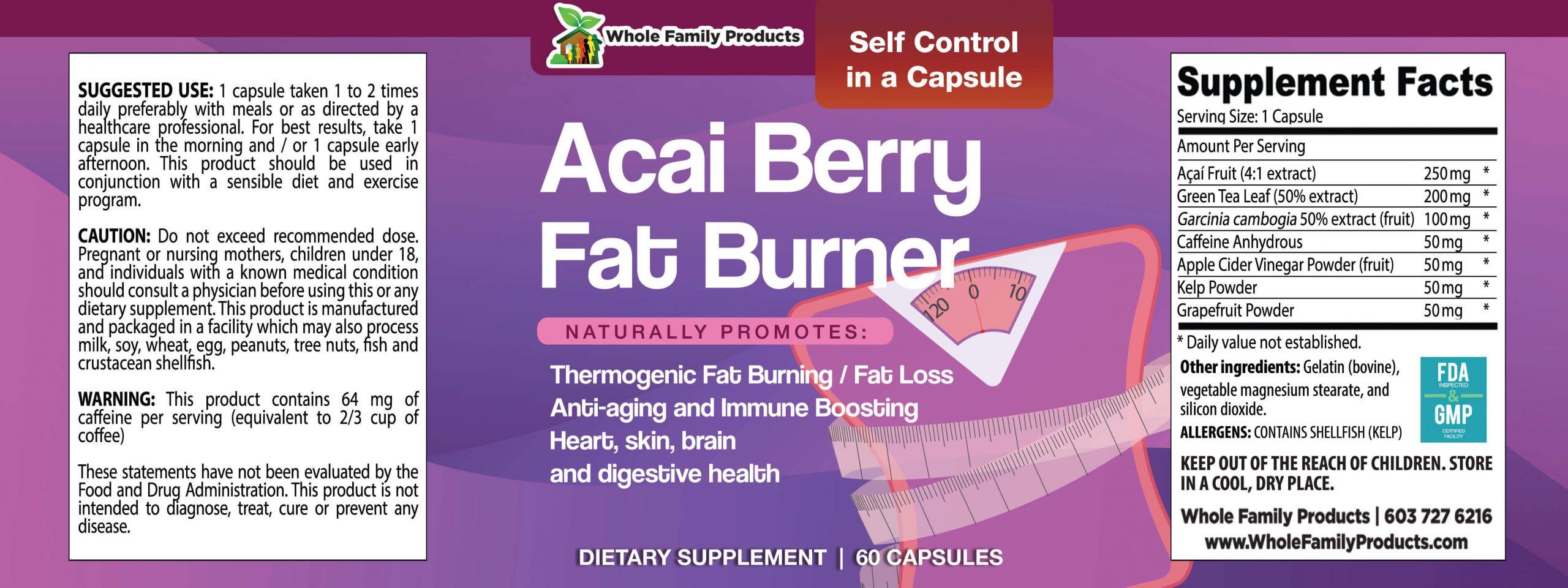 Acai Berry Fat Burner 60 Capsules WFP Product Label