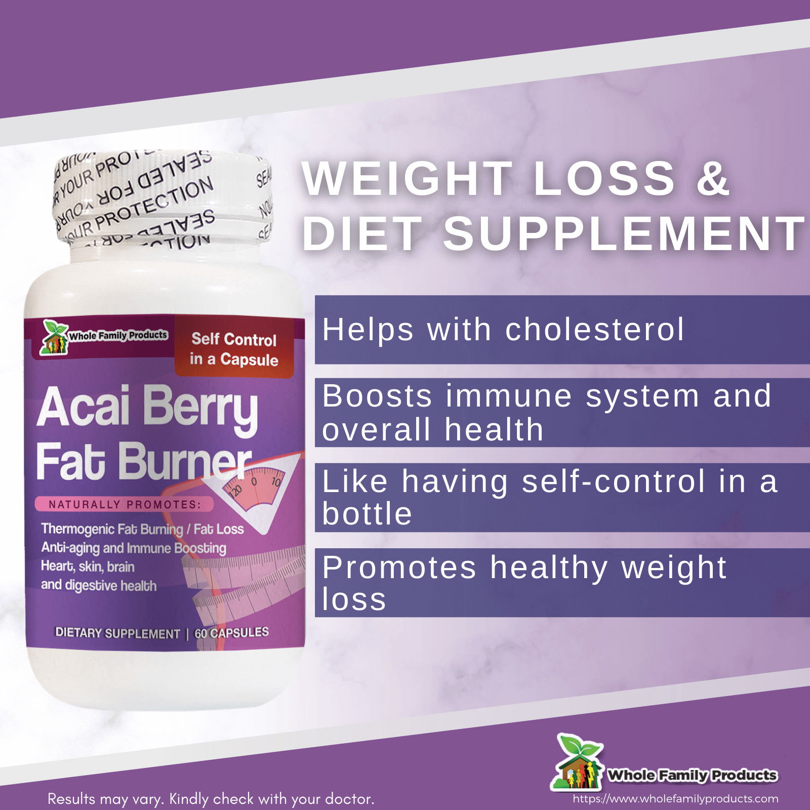 Acai Berry Fat Burner 60ct WFP Infographic