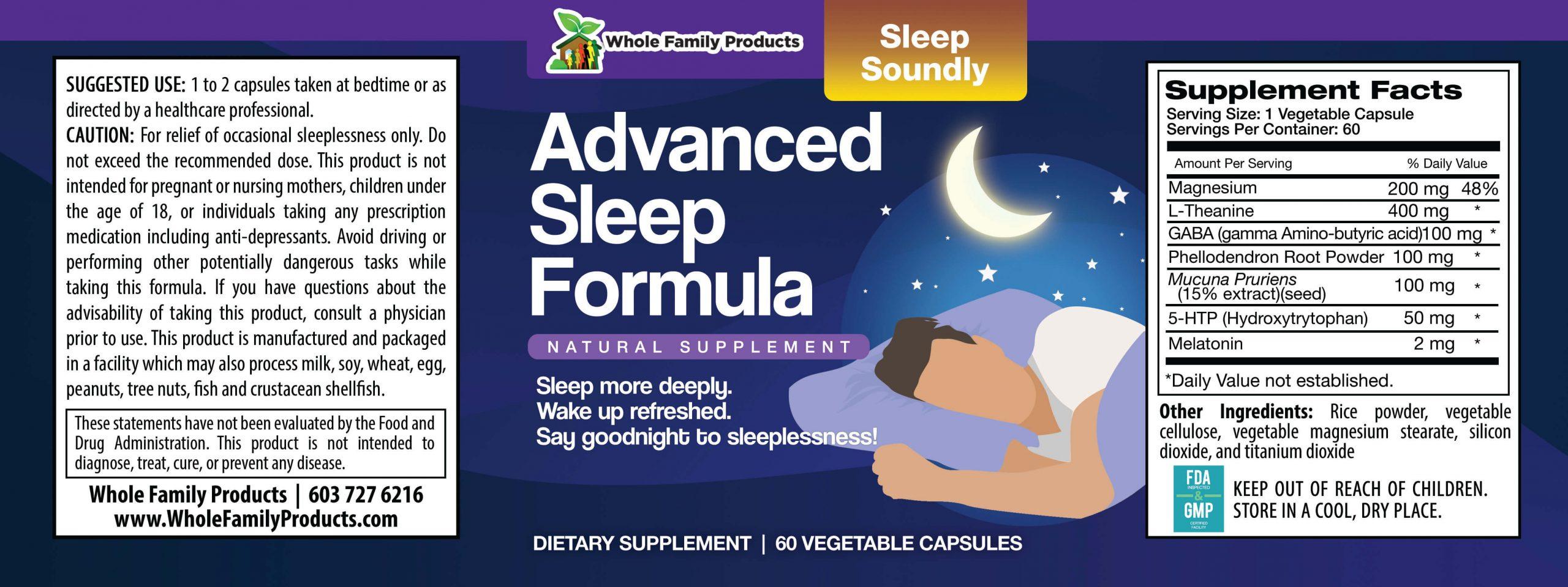 Advanced Sleep Formula 60ct WFP Product Label