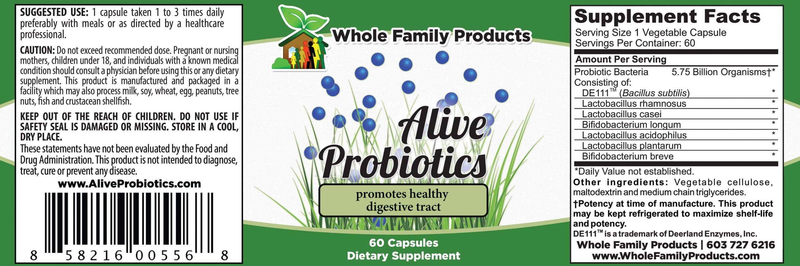 Alive Probiotics Product Label