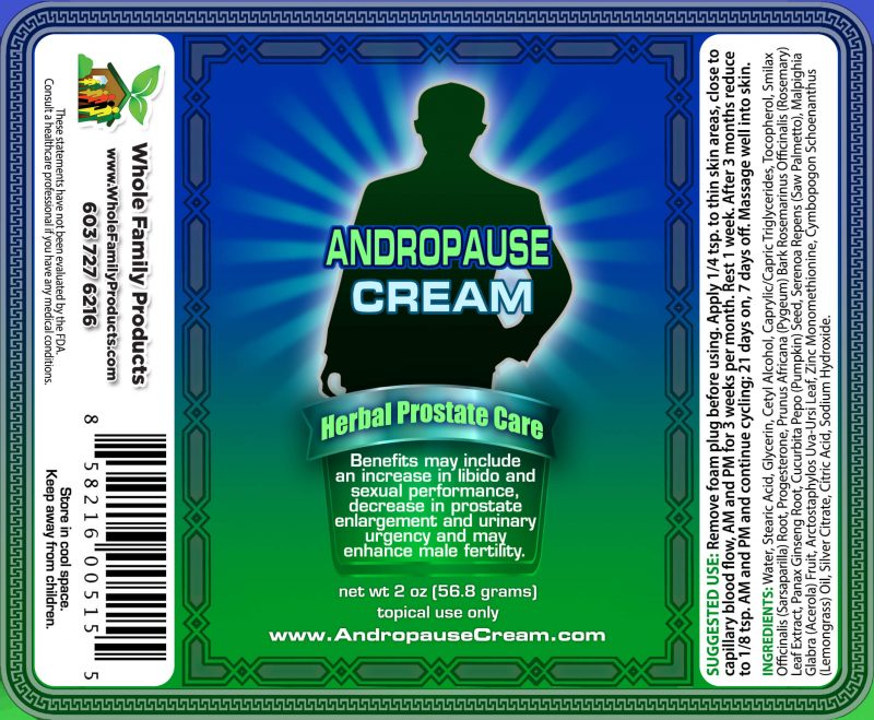 Andropause Cream 2oz Pump Label