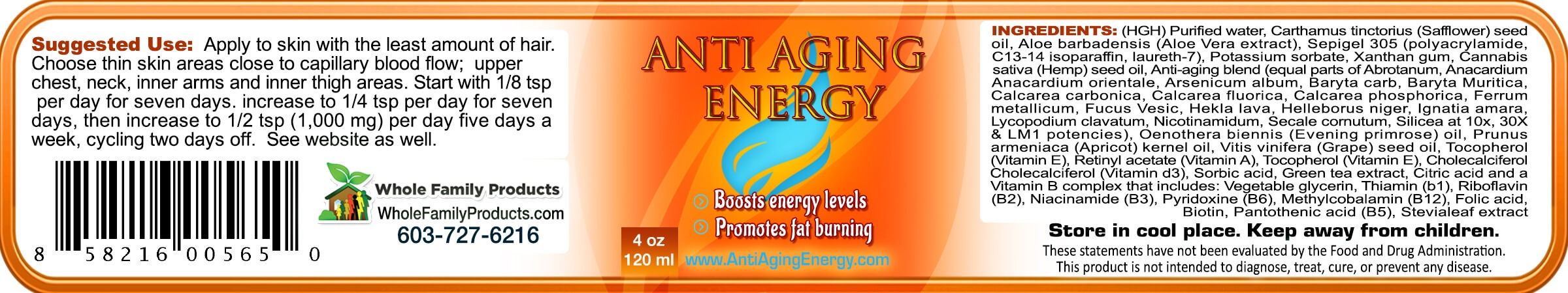 Anti Aging Energy Cream Label