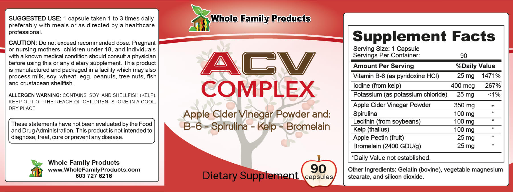Apple Cider Vinegar Complex Gummies Label
