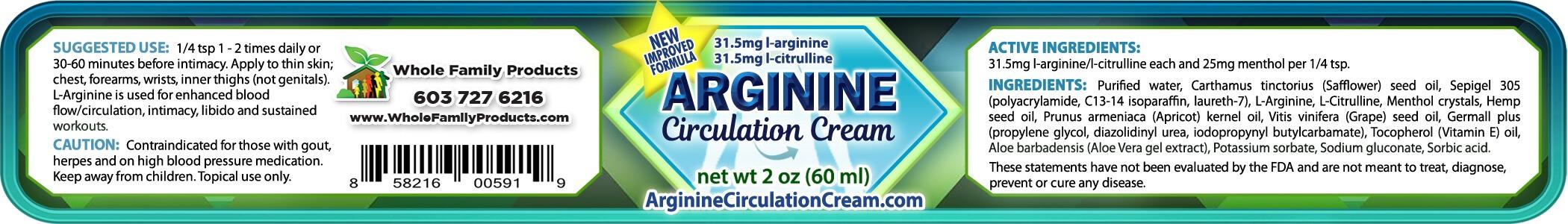 Arginine Circulation Cream Product Label 2oz Jar
