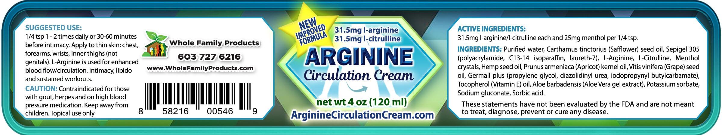 Arginine Circulation Cream Product Label 4oz Jar