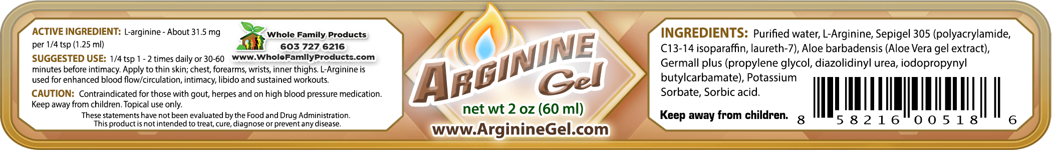 Arginine Gel 2oz Jar WFP Label