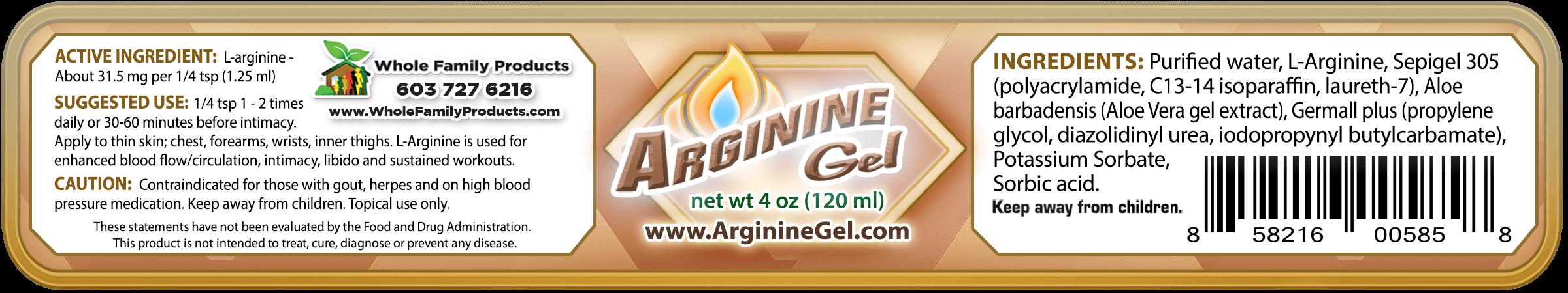 Arginine Gel 4oz Jar WFP Label