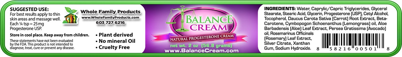 Balance Cream 2oz Jar Label