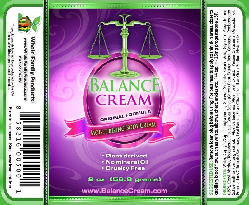 Balance Cream 2oz Pump Label