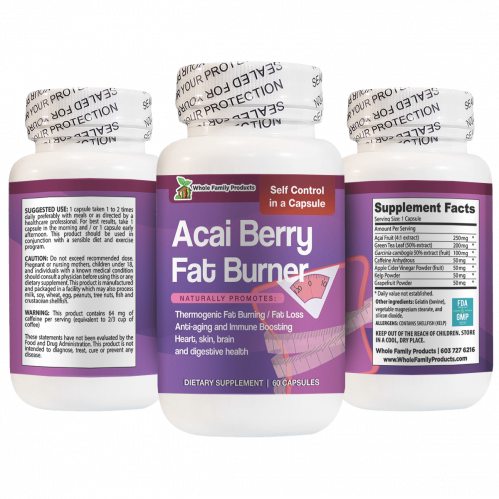 Best Acai Berry Fat Burner Supplement 60 Capsules for Weight Loss
