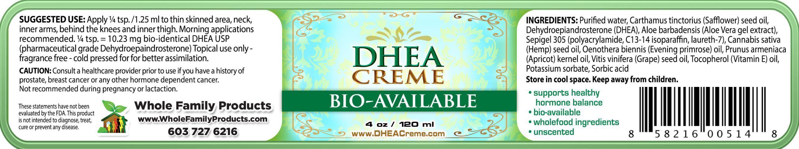 Best Dhea Cream 4oz Jar Label