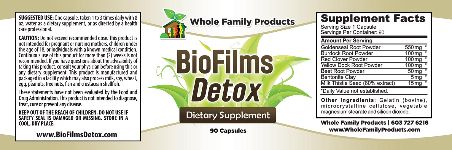 BioFilms Detox 90 Capsules Label