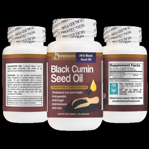Black Cumin Seed Oil 60 Capsules Anti-Parasitic, Fungal, Viral and Bacterial