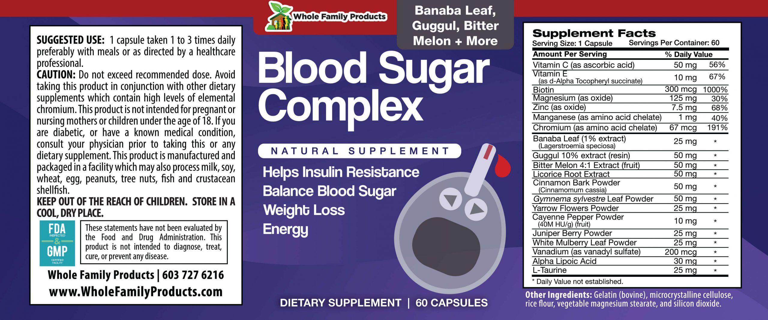 Blood Sugar Complex 60 Capsules Product Label