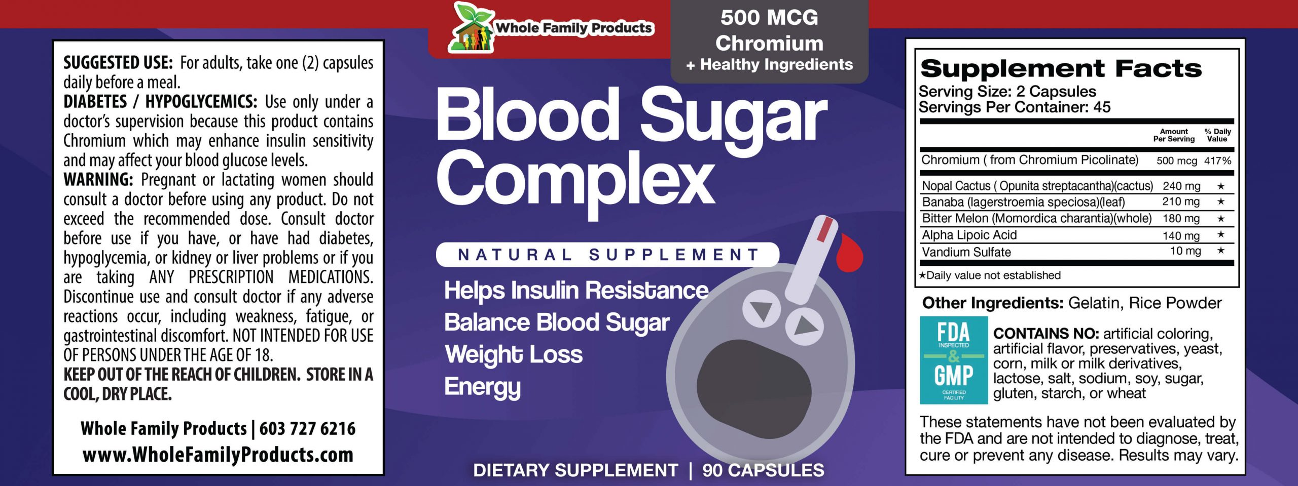 Blood Sugar Complex WFP Product Label
