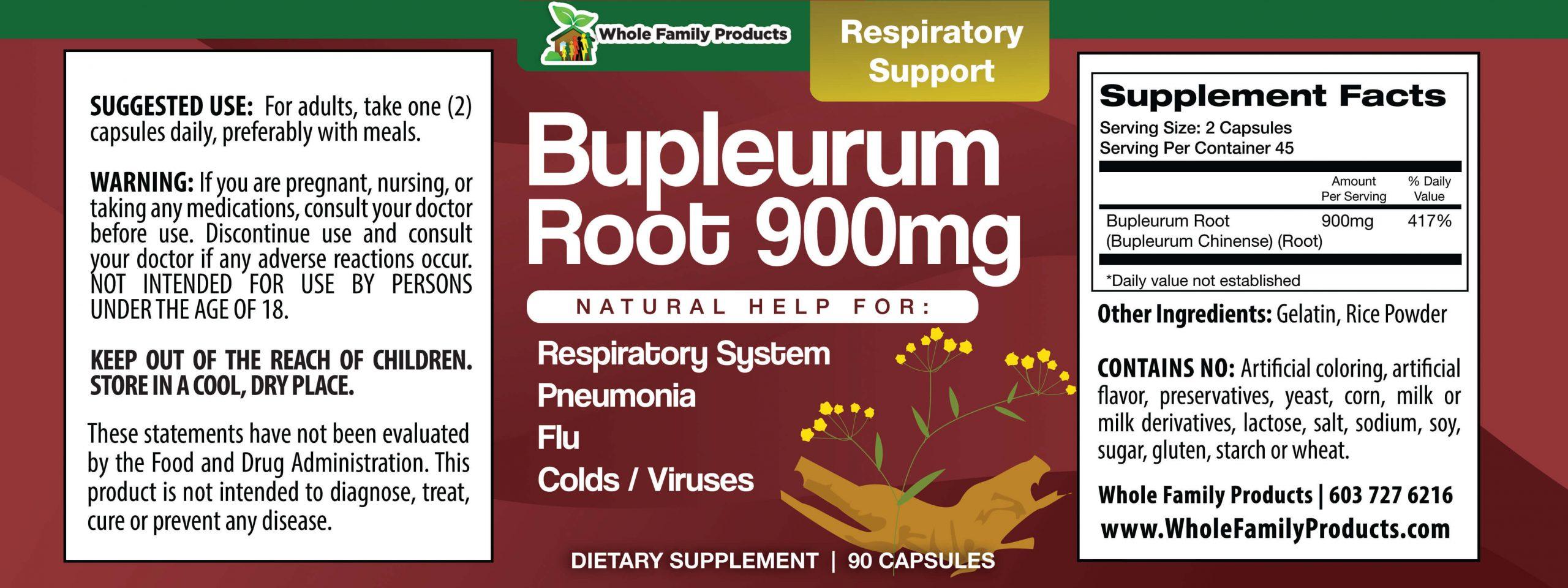 Bupleurum Root 900mg 90 Capsules WFP Product Label