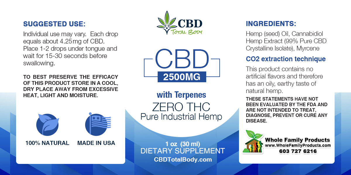 CBD 2500MG with Terpenes Label