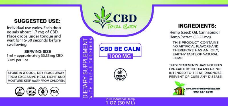 CBD Be Calm 1000mg Triple Terpenes Label