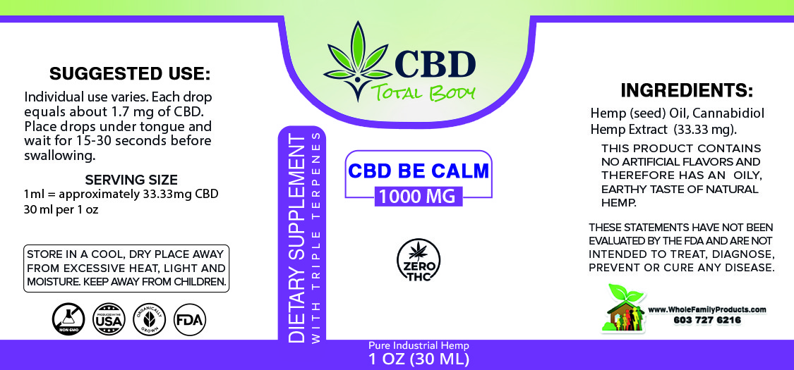 CBD Be Calm 1000mg Triple Terpenes Label