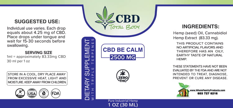 CBD Be Calm 2500mg Triple Terpenes Label