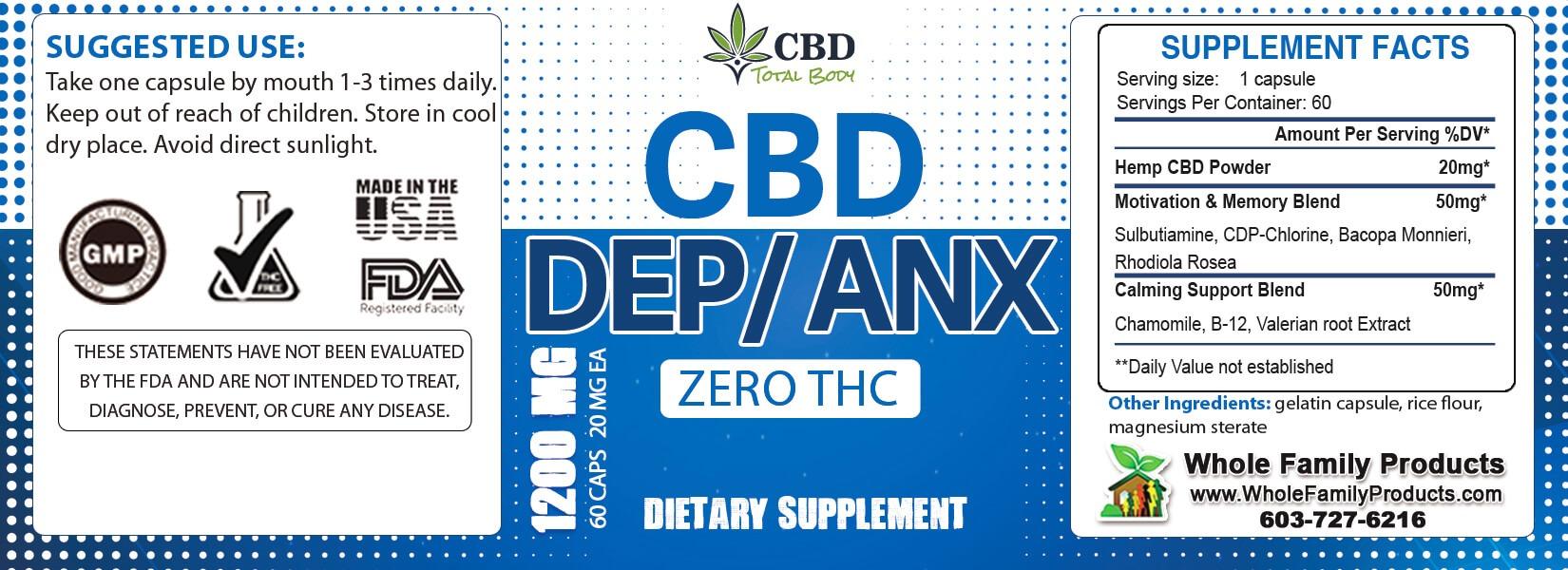 CBD Dep Anx Product Label