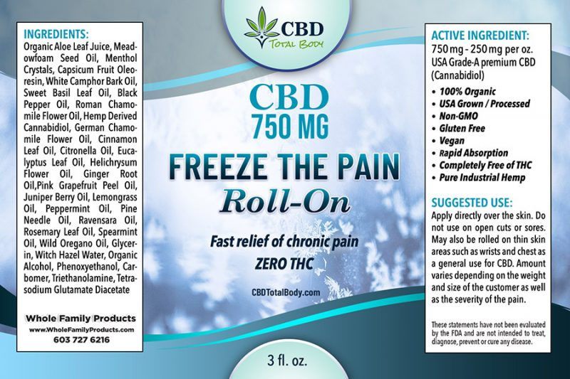CBD Freeze The Pain Roll On Label