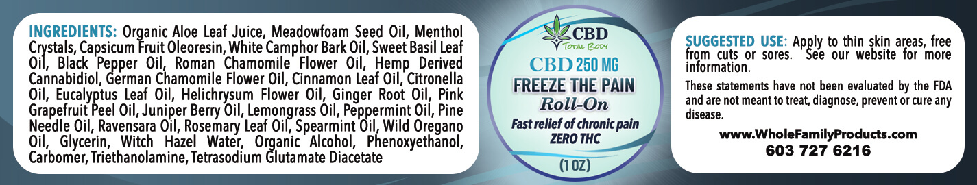 CBD Freeze The Pain Roll on 1oz Product label