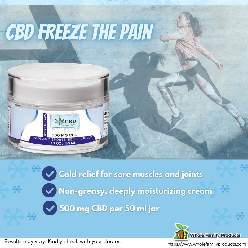 CBD Freeze the Pain Cream Cold Relief for Sore Muscles and Joints