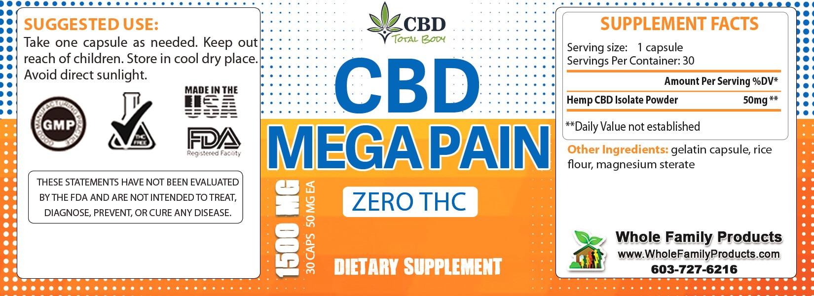 CBD Mega Pain 1500mg 30ct Label