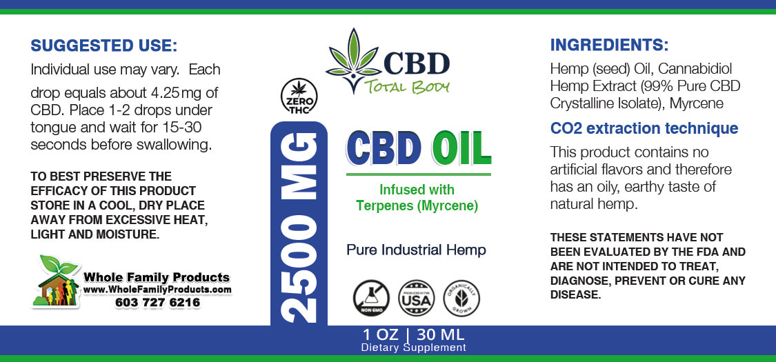 CBD Oil with Myrcene Terpenes 2500mg Label