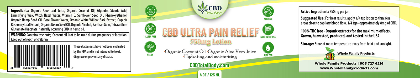 CBD Ultra Pain Relief 750mg Label