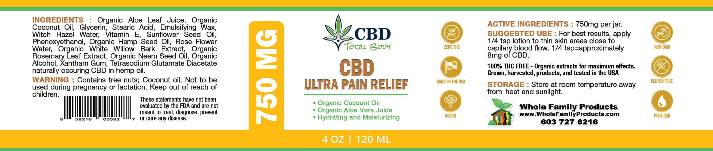 CBD Ultra Pain Relief Cream Label