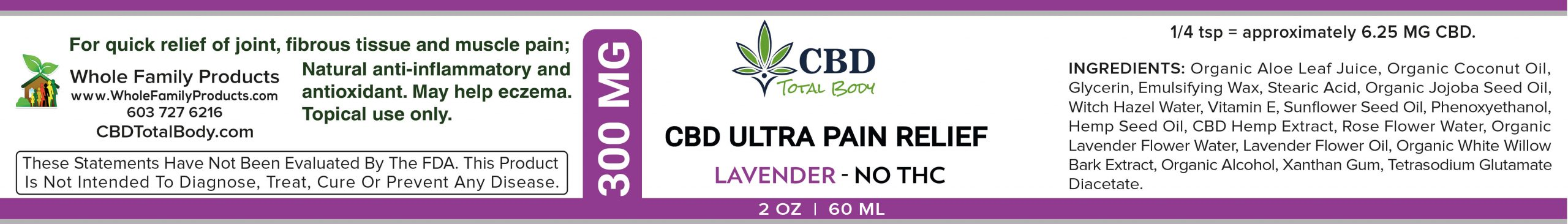 CBD Ultra Pain Relief Lavender 2oz Cream Label