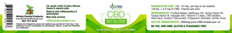 CBD Ultra Pain Relief (cold-processed) 1.3oz Jar Label