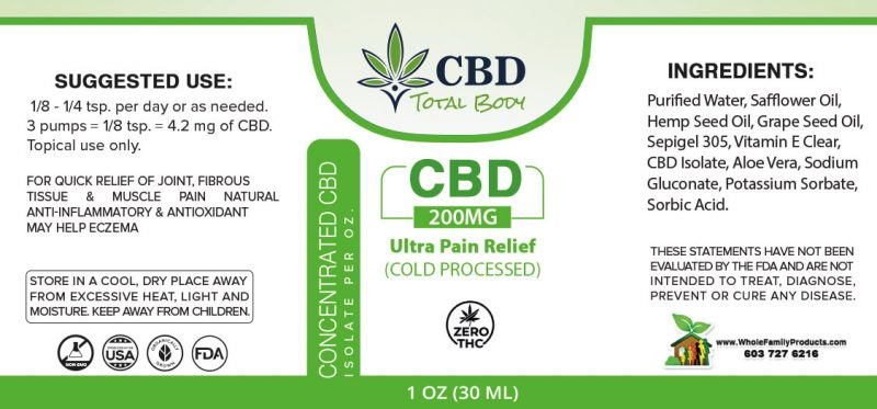 CBD Ultra Pain Relief (cold processed) 1oz Bottle - Label