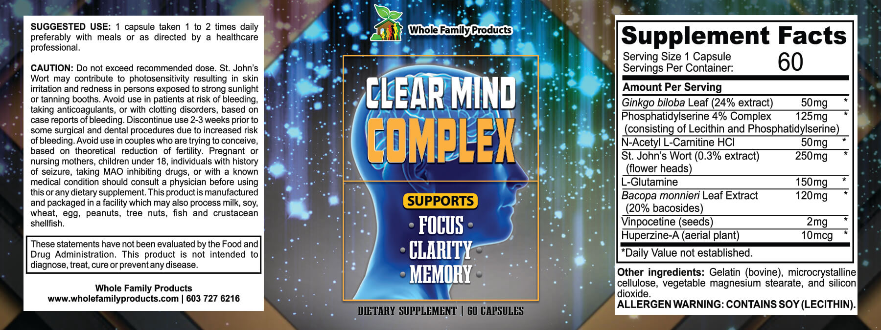 Clear Mind Complex Product Label