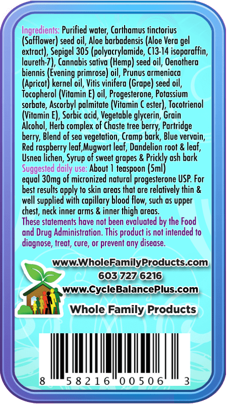 Cycle Balance Plus Unscented 8oz Back Product Label