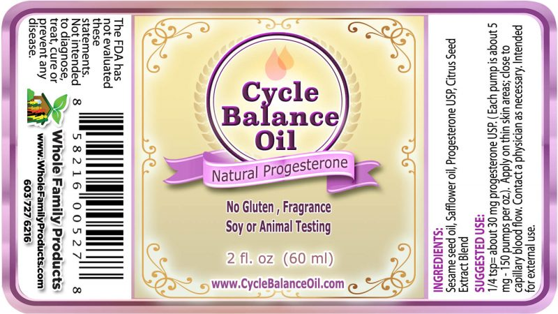 Cycle Balance Progesterone Oil - Label