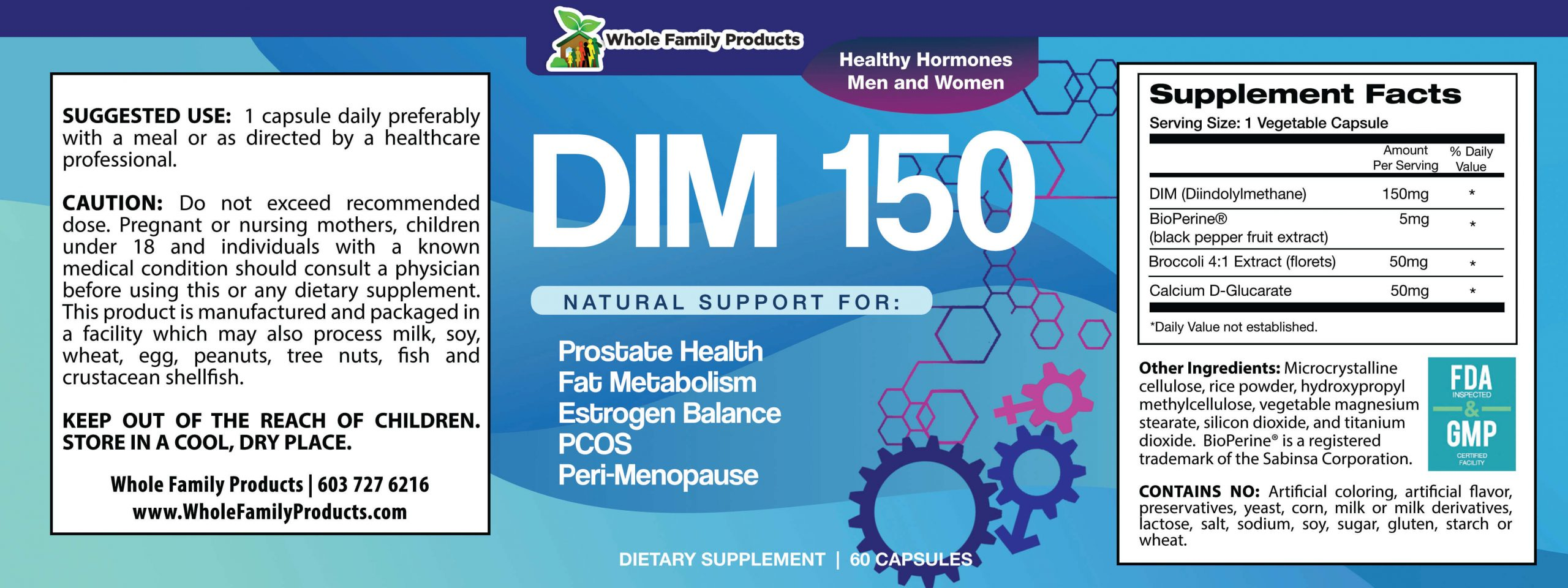 DIM150 60 Capsules Product Label