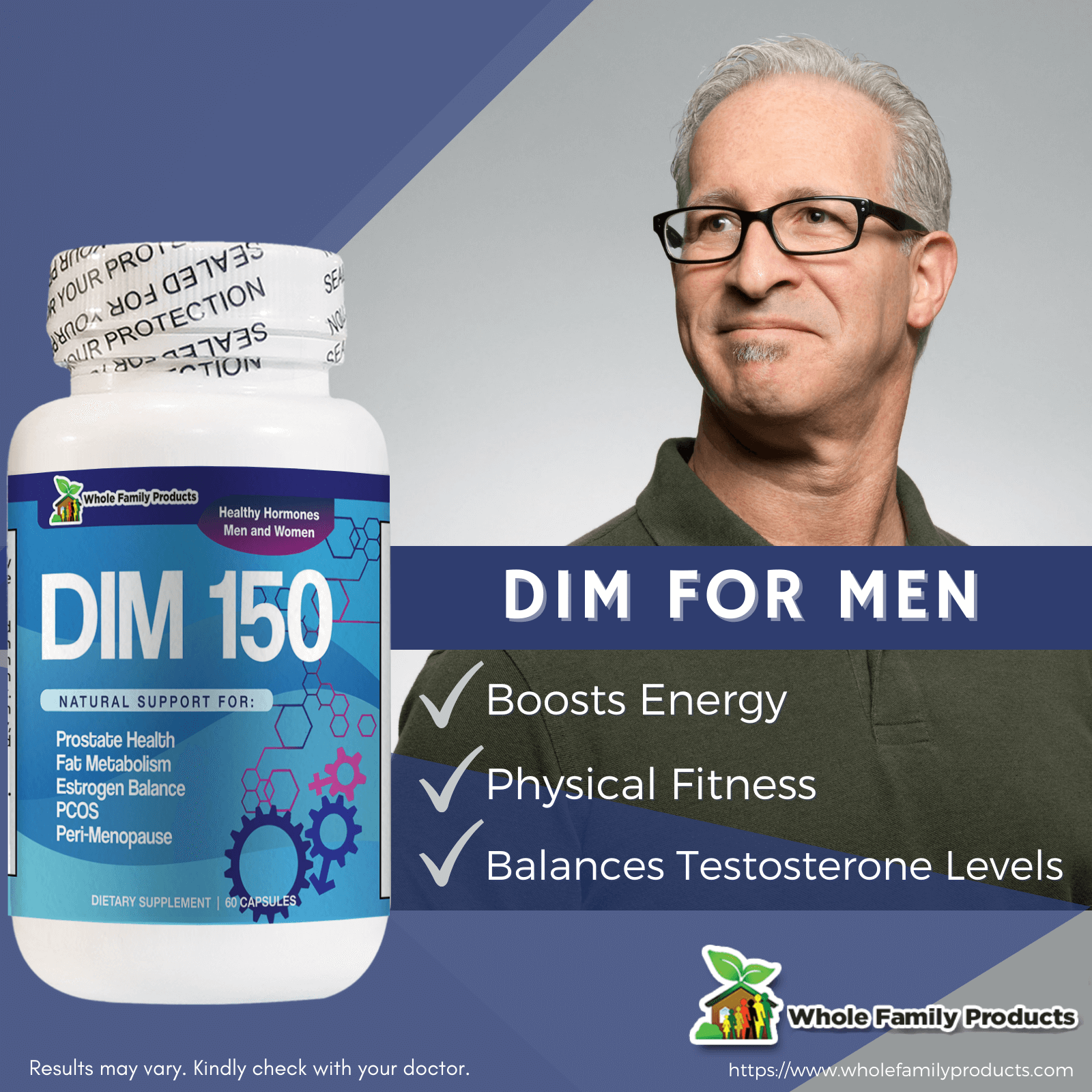 DIM150 60 Capsules for Men Help Balance Testosterone Level Infographics