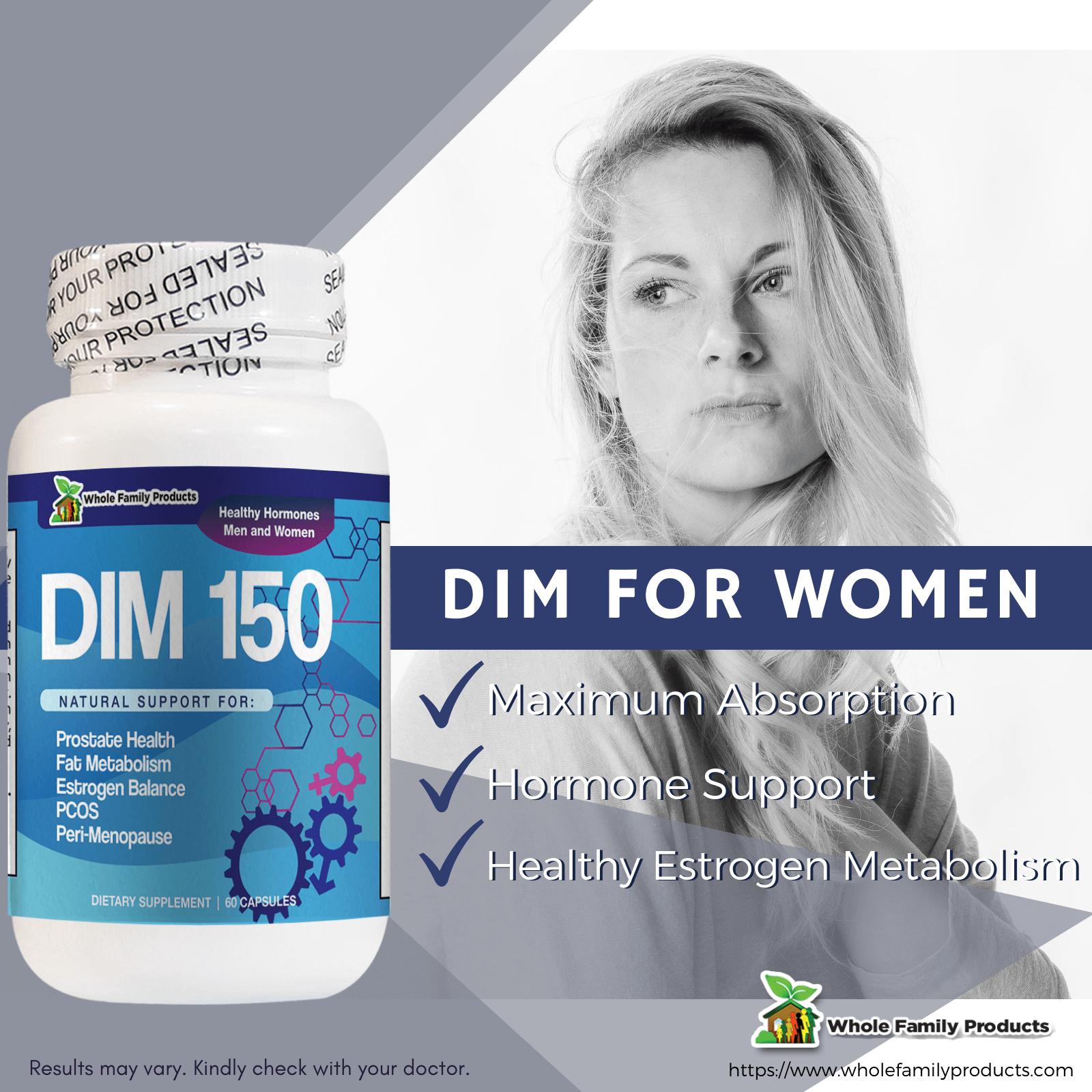 DIM150 60 Capsules for Women Hormone Support Infographics