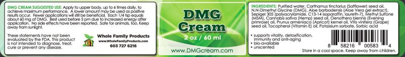 DMG Cream 2 oz Jar Label