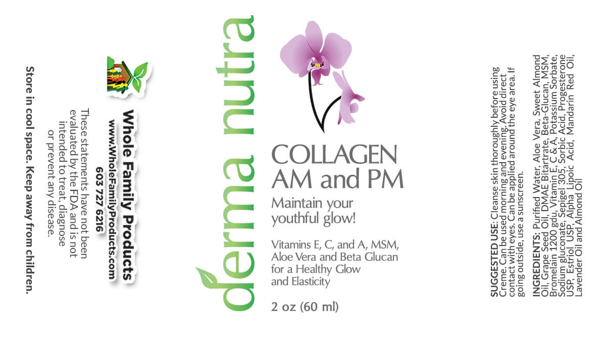 Derma Nutra Collagen AM and PM Cream 2oz Fliptop Product Label