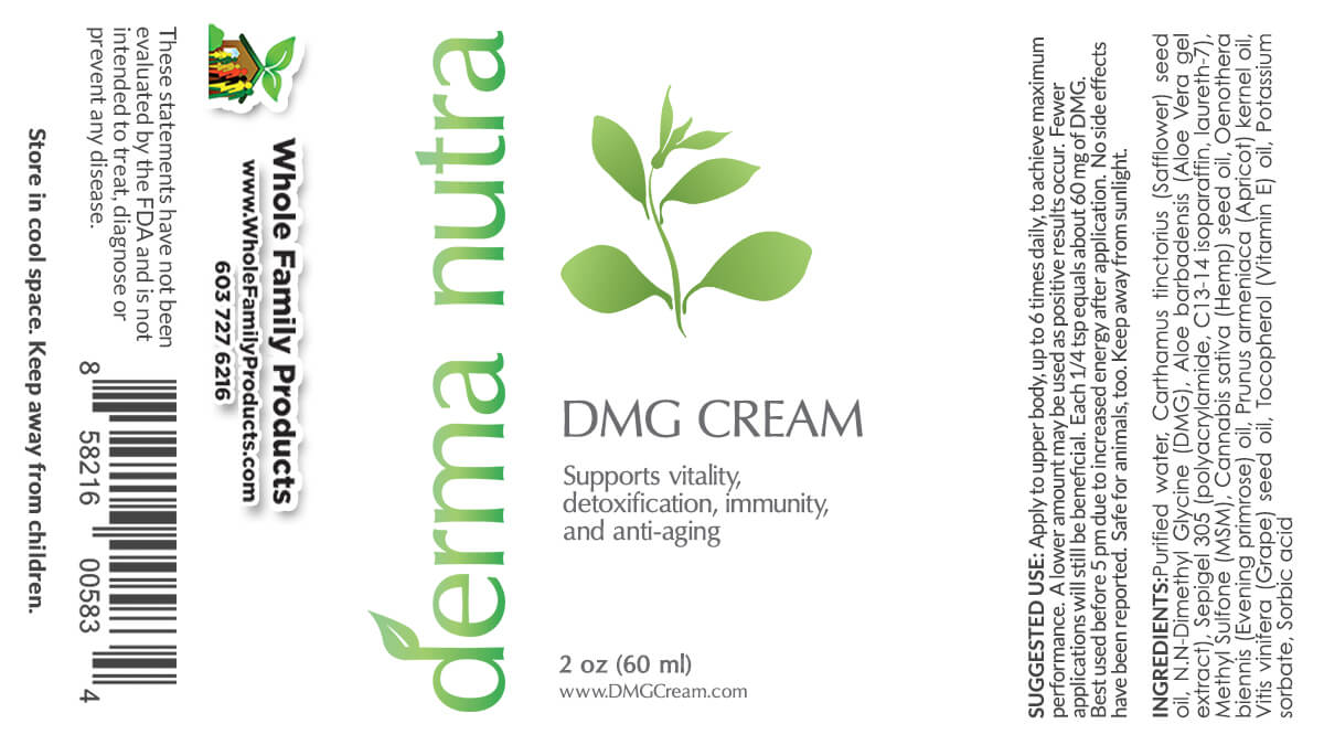 Derma Nutra DMG Cream Product Label